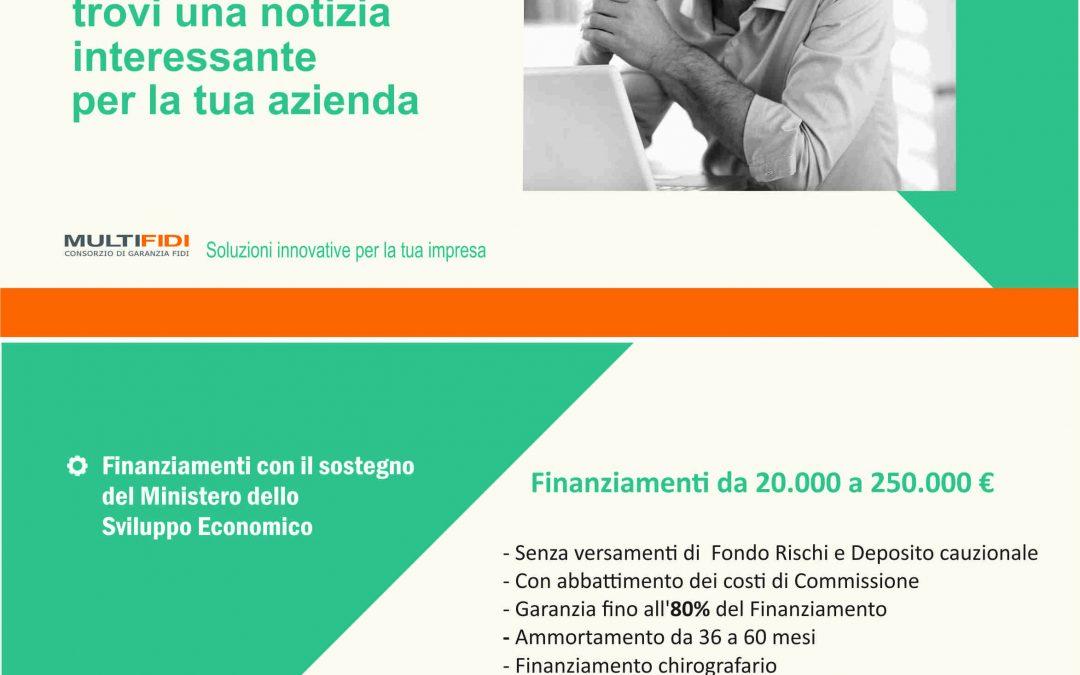 Finanziamenti Mise da 25.000€ a 250.000€